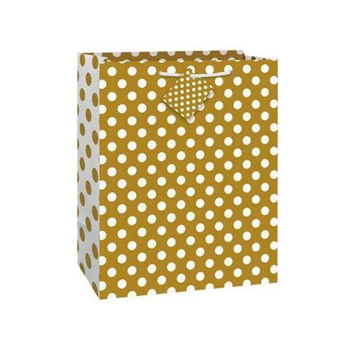 Torebka prezentowa złota w białe kropeczki 27x32 cm - 1 szt.
