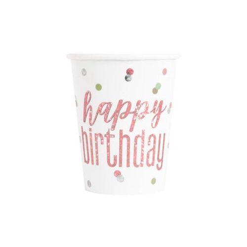 Unique Kubeczki urodzinowe różowe złoto happy birthday - 270 ml - 8 szt.