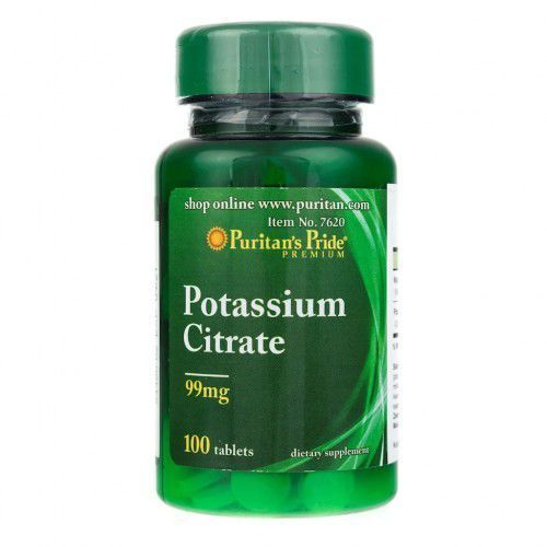 Tabletki Puritan's Pride Cytrynian Potasu 99 mg - 100 tabletek