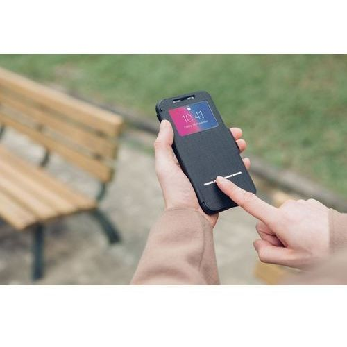 Moshi SenseCover - Etui z klapką dotykową + folia na ekran iPhone X (Metro Black), 99MO072010