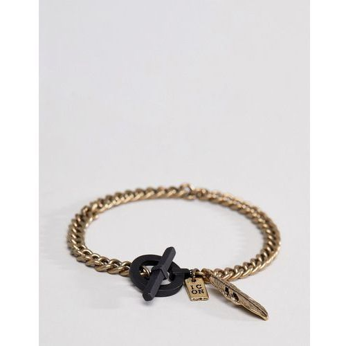 Icon brand gold chain bracelet with matte black t bar - gold