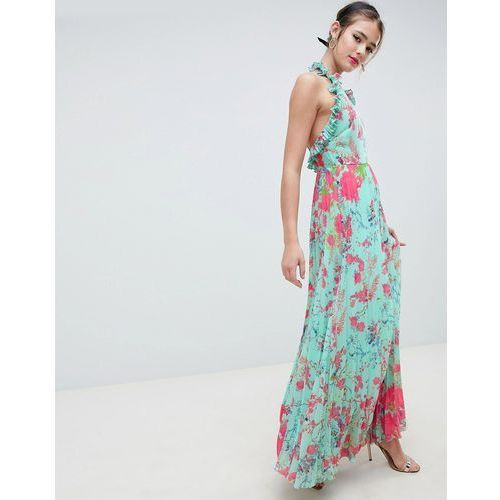 design pleated maxi dress with ruffle open back in vintage floral - multi, Asos