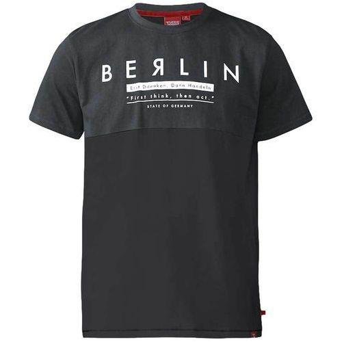 T-shirt męski czarno-szary d555 hamish - 3xl-6xl marki Duke