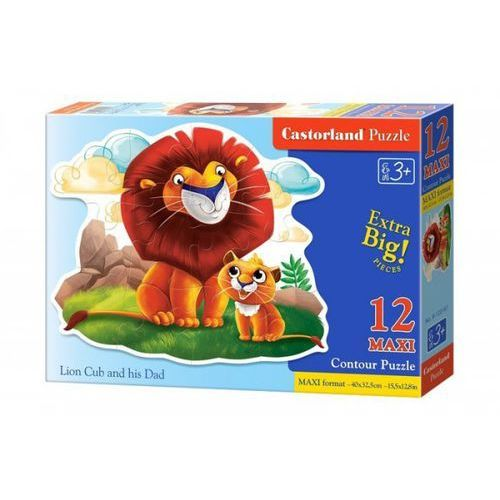 Puzzle Maxi Konturowe:Lion Cub and his Dad 12 - Castor
