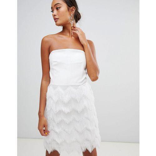 Miss Selfridge fringed skirt mini dress - White