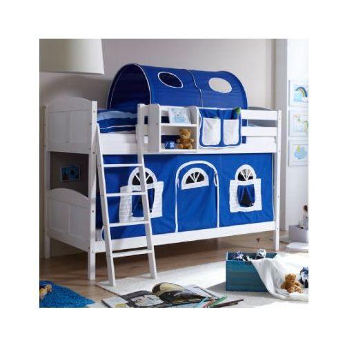 Ticaa łóżko piętrowe erni country dworek białe drewno sosnowe kolor niebiesko-biały, marki Ticaa kindermöbel