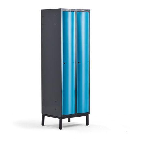 Metalowa szafa ubraniowa CURVE, na nóżkach, 2x1 drzwi, 1940x600x550 mm, niebieski