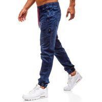 Spodnie jeansowe joggery męskie granatowe denley y267, Red fireball