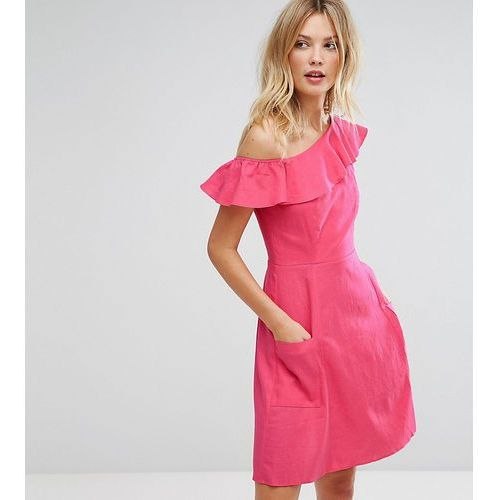 Asos tall one shoulder ruffle front mini sundress - pink