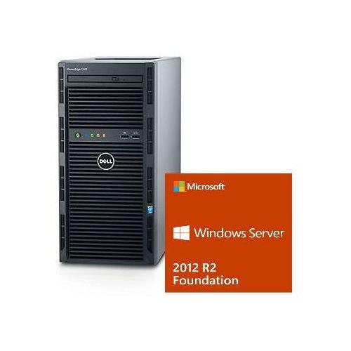 Serwer Dell T130 Xeon E3-1220v6 3.0GHz / RAM 8GB DDR4 / HDD 2x1000GB w Raid1 / 3Y NBD / Windows Server 2012R2 dla 15 uzytkownikĂłw / Zestaw!!!, 52557026PET130PL1WSF12