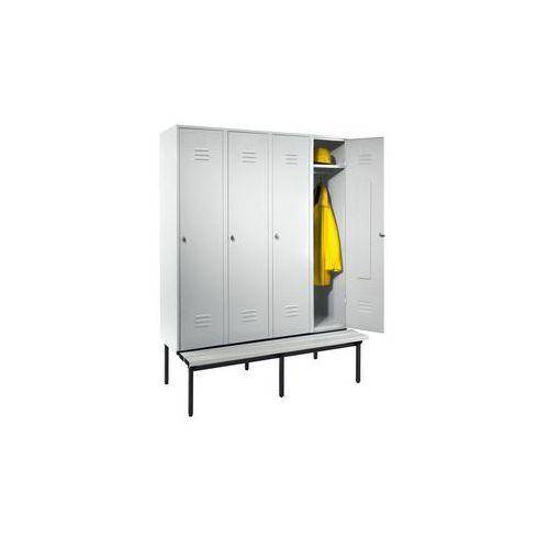 Eugen wolf Szafka na ubrania z ławeczką u dołu,pełne drzwi, szer. przedziału 400 mm, 4 przedziały