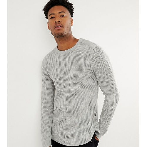 D-Struct TALL Long Line Curved Hem muscle Fit Stretch Knitted Top - Grey
