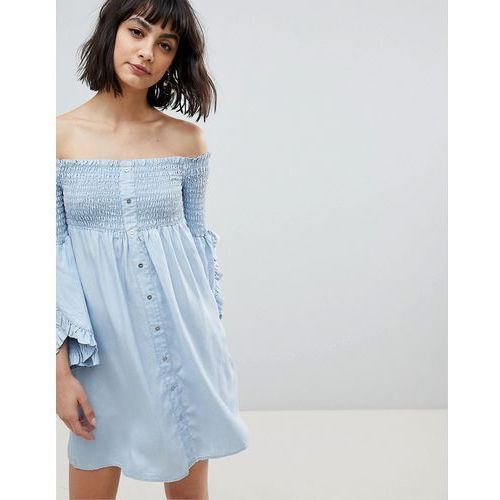 River island button front off the shoulder swing dress - blue