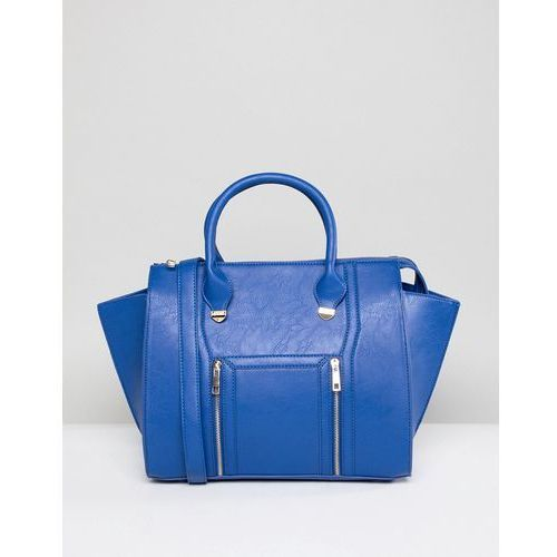 Yoki fashion large tote bag with zips in blue - blue