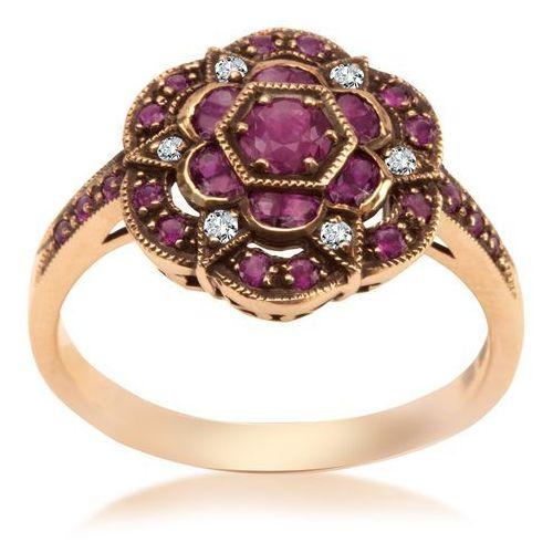 Biżuteria yes Kolekcja wiktoriańska - pierścionek z diamentami i rubinami