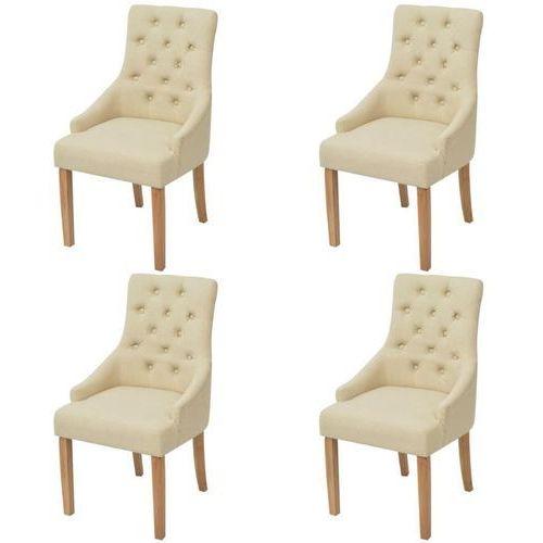Dębowe krzesła do jadalni, tapicerowane tkaniną, kremowe, 4 szt., kolor beżowy