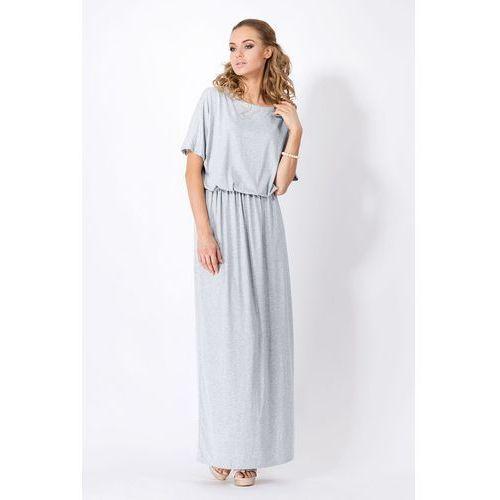 Szara Maxi Sukienka z Gumką w Tali z Krótkim Rękawem