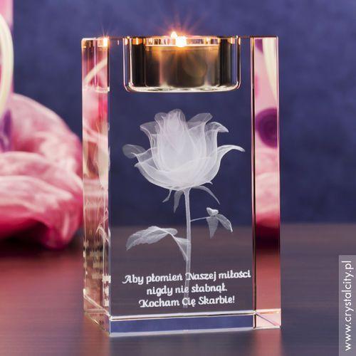RÓŻA 3D Kwiat Miłości ♥ personalizowany świecznik • GRAWER 3D