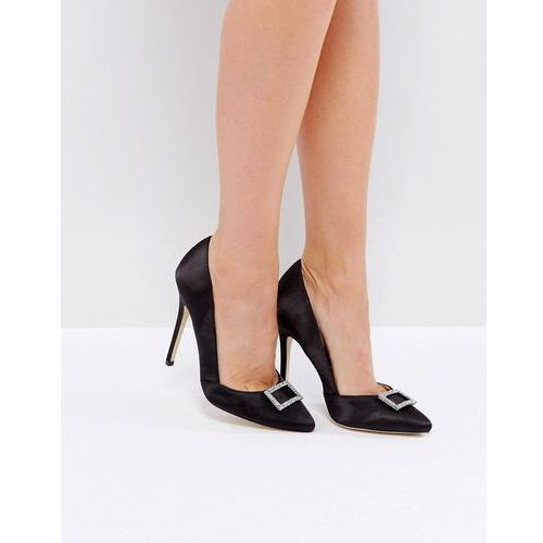 London rebel point satin heeled shoe - black