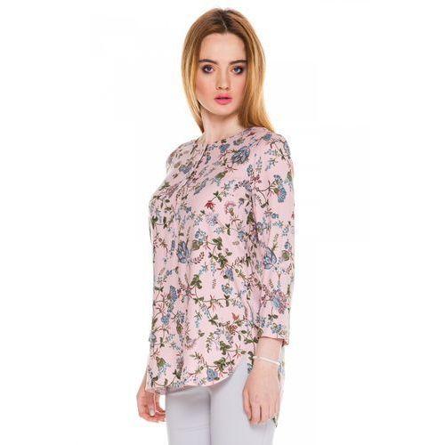 Różowa bluzka w kwiaty - Bialcon, kolor różowy