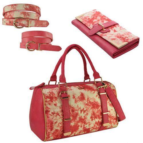 Różowy ZESTAW torebka, portfel, pasek z nadrukiem PINK - różowy ||wielobarwny