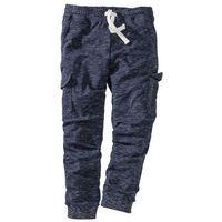 Spodnie sportowe z kieszeniami z boku nogawki bonprix ciemnoniebieski melanż, 1 rozmiar