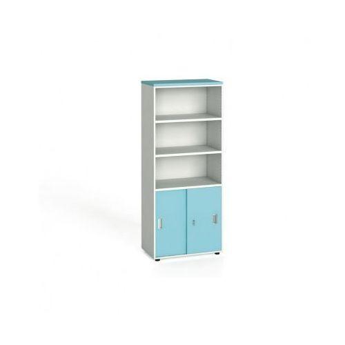 Szafa biurowa, przesuwne drzwi na 2 półki, 1781x800x420 mm, biały / turkusowy z kategorii Szafy i witryny