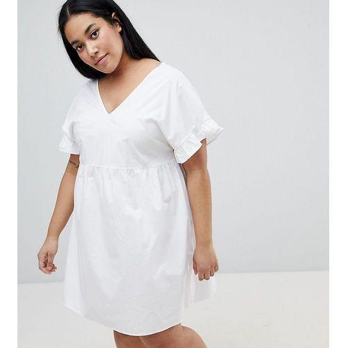 ASOS DESIGN Curve V Front V Back Mini Cotton Smock Dress - White