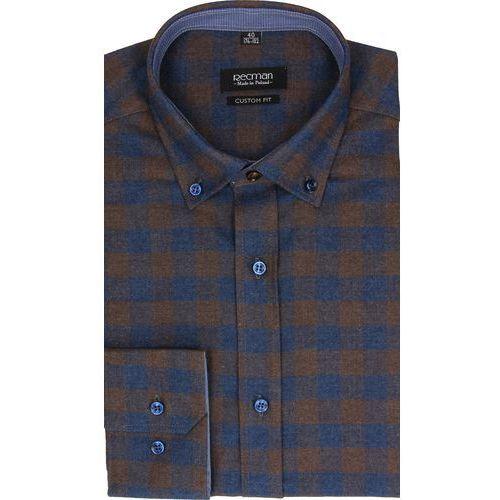 koszula bexley f2482 długi rękaw custom fit brąz