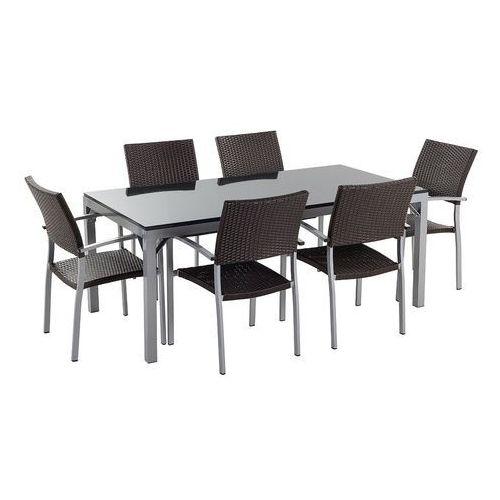 Stół ogrodowy 180 cm granit i aluminium 6 krzeseł - TORINO czarny polerowany