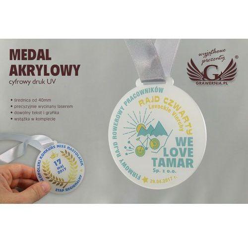 Medal z akrylu szronionego - druk uv - mak002 - średnica 40 do 80mm marki Grawernia.pl - grawerowanie i wycinanie laserem