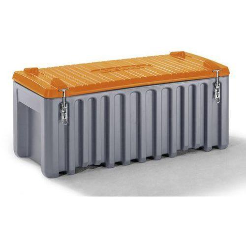 Cemo Pojemnik uniwersalny z polietylenu, poj. 250 l, nośność 200 kg, szary / pomarańc