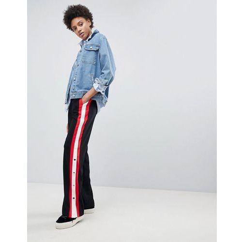 Stradivarius side stripe popper trousers - black