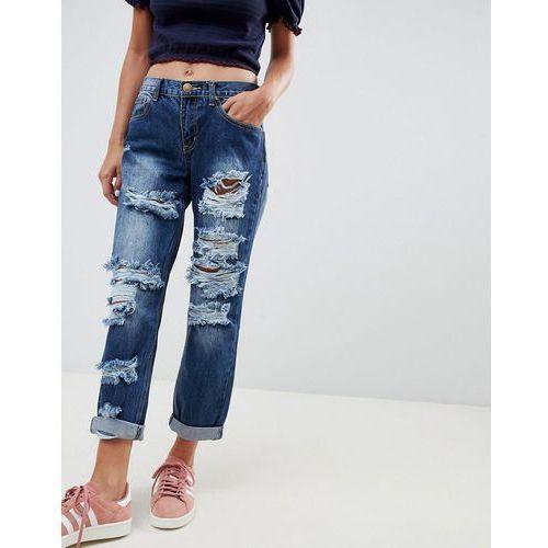 Glamorous ripped boyfriend jeans - blue