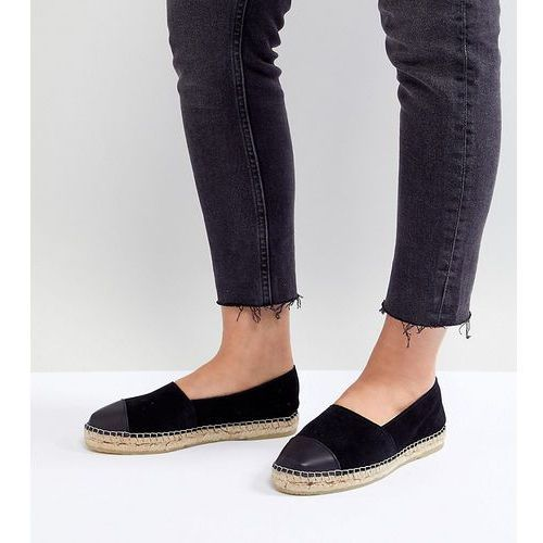 wide fit suede toe cap espadrilles - black marki Park lane