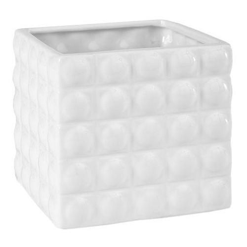 Osłonka doniczki wewnętrzna w kwadraty 14 cm biała marki Polnix