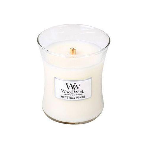 Woodwick - świeca średnia white tea & jasmine 100h