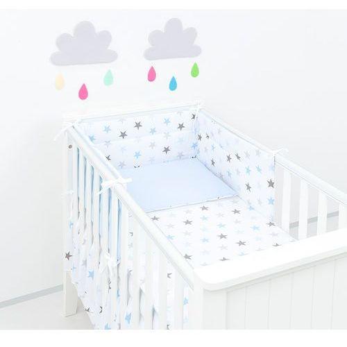 Mamo-tato ochraniacz do łóżeczka 60x120 gwiazdki szare i niebieskie d / błękit
