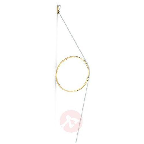 FLOS Wirering kinkiet LED, biały, pierścień złoty