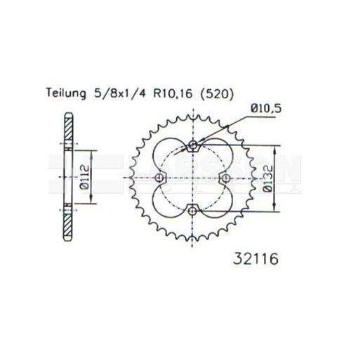 Zębatka tylna stalowa jt 50-32116-36, 36z, rozmiar 520 2302571 kymco maxxer 300 marki Jt sprockets