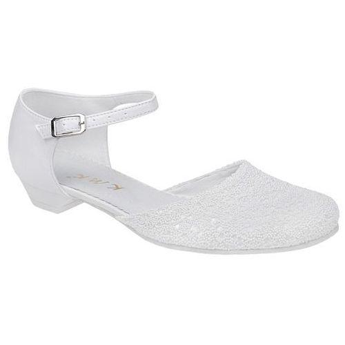 Pantofelki buty komunijne dla dziewczynki KMK 189 Białe - Biały ||Perełki