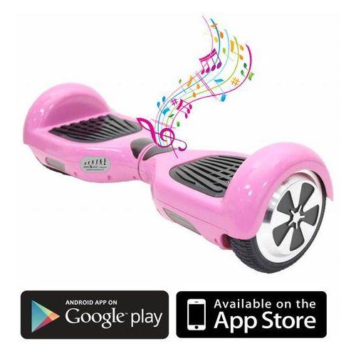 Kolonožka  deskorolka elektryczna standard z aplikacją mobilną i głośnikiem bt, różowa (8594176633558)