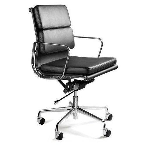 Krzesło biurowe WYE LOW czarny skóra naturalna