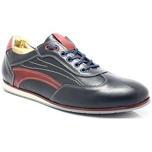 296 granat-czerwony - sportowo eleganckie skórzane buty - granatowy ||czerwony marki Kent