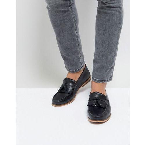 Silver street tassel loafer in black leather - black