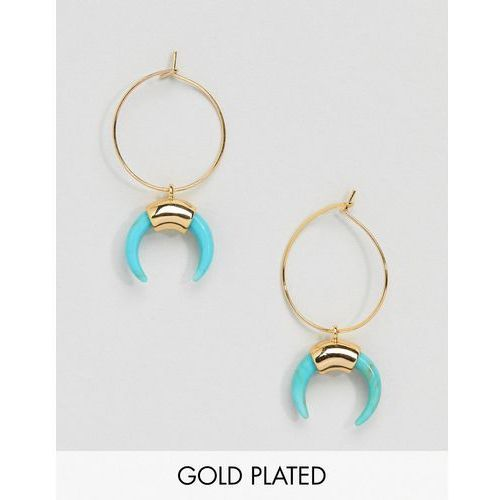 Orelia Gold Hoop Cresent Earrings in Turquoise - Gold