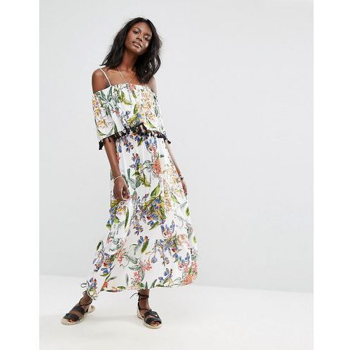 Boohoo  floral printed maxi dress - white