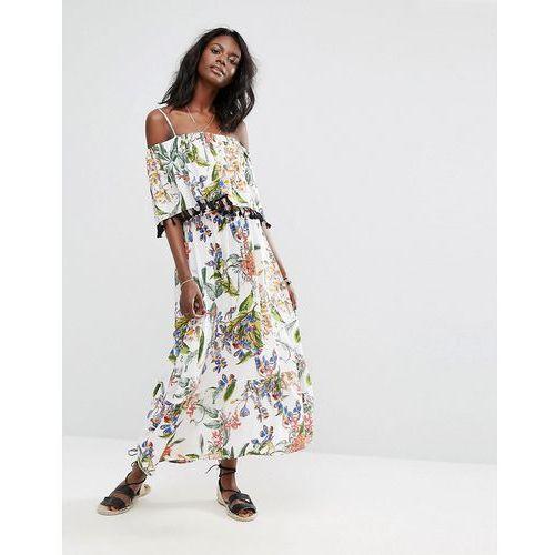floral printed maxi dress - white marki Boohoo