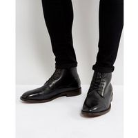 H By Hudson Seymour Leather Lace Up Boots In Black - Black