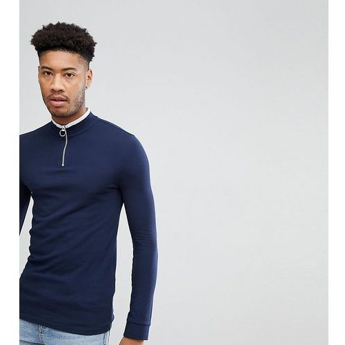 ASOS TALL Muscle Fit Pique Long Sleeve T-Shirt With Zip Neck And Tipping - Multi